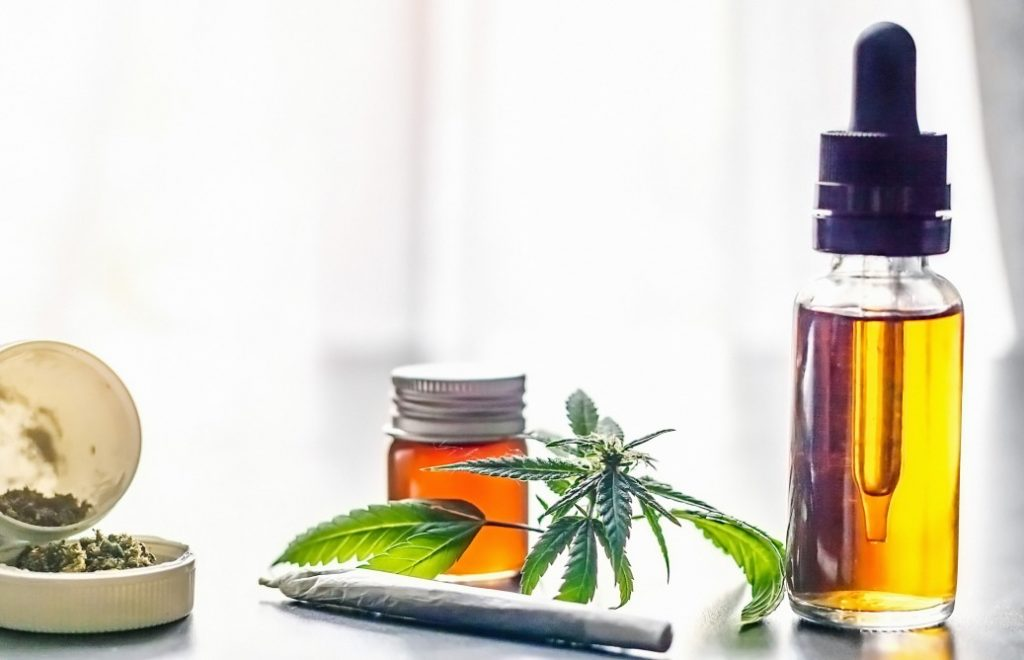 cannabidiol or CBD oil tincture and flowers